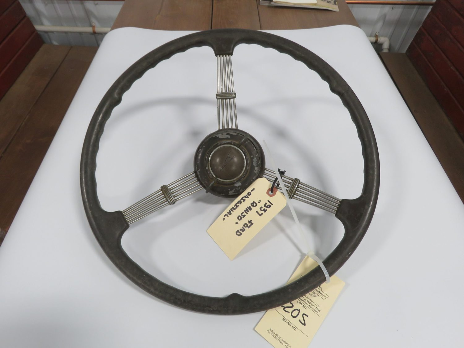 1937 Ford Banjo Steering Wheel w/Horn Button - Image 1