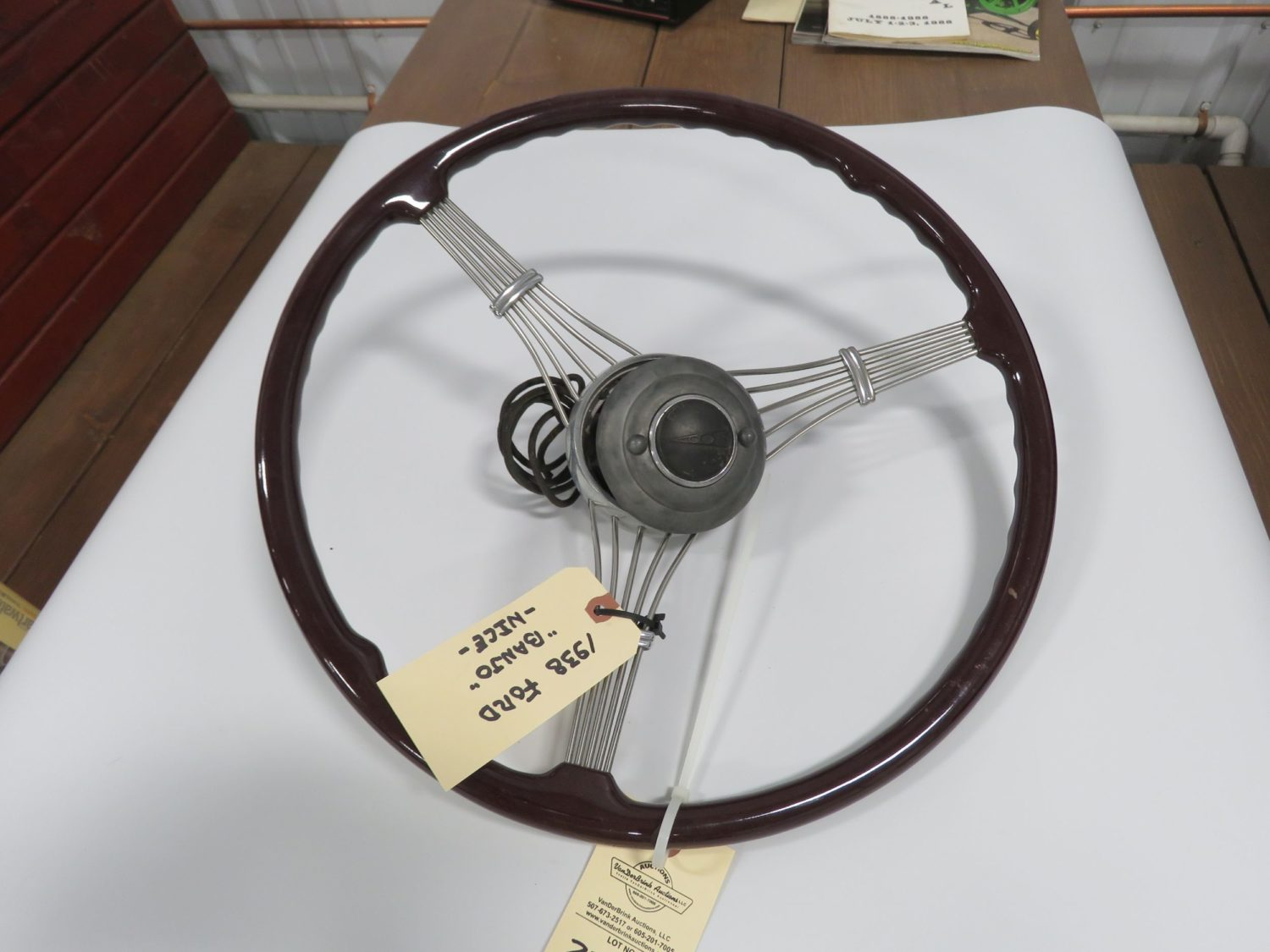 1938 Ford Banjo Steering wheel w/Horn Button Restored - Image 1
