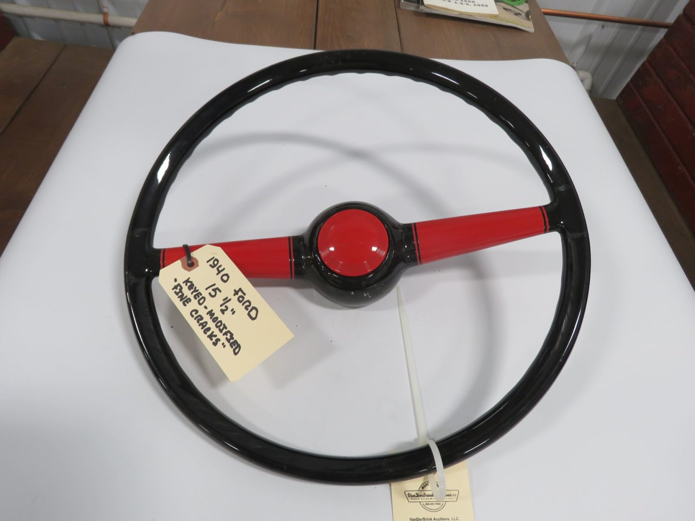 1940 Ford Custom  Steering Wheel, Cut down w/horn button restored - Image 1