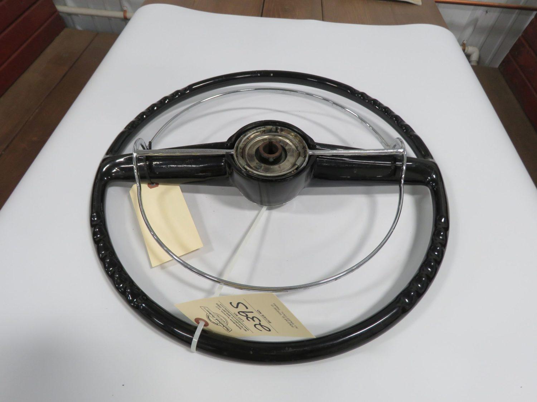 1951 Mercury Black steering Wheel w/Horn Ring original - Image 2