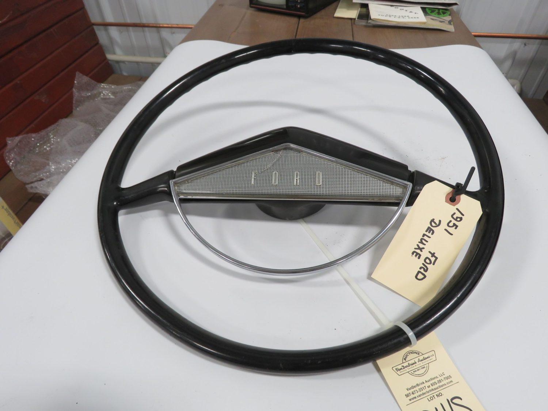 1951 Ford Black Original Steering Wheel w/Horn Ring - Image 1