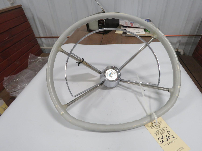1957 Mercury Monterey White Steering Wheel w/Horn Ring - Image 1