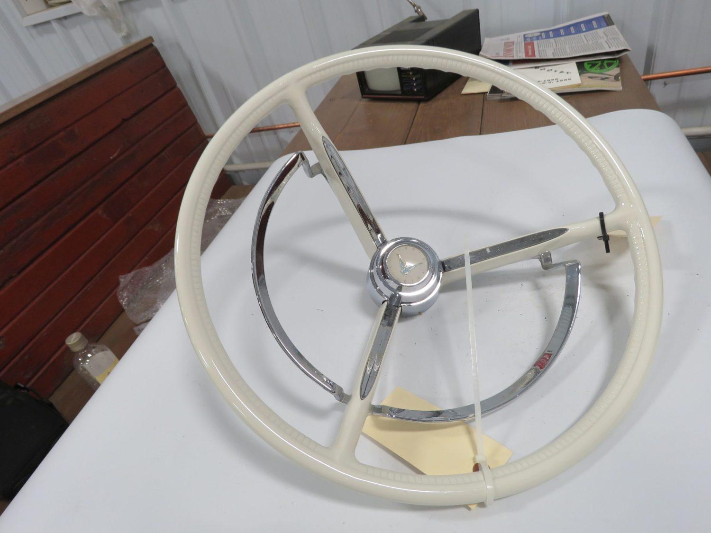 1958-1960 Ford T-Bird White Steering Wheel w/Horn Ring - Image 1