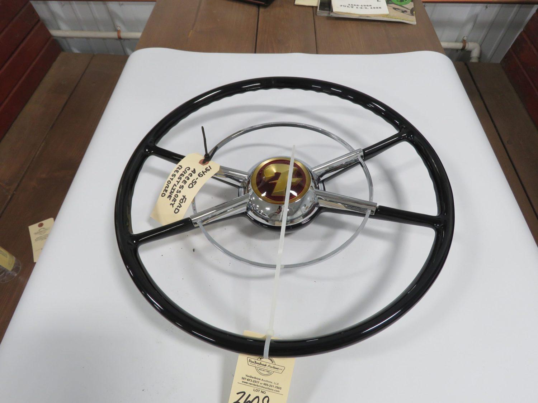 1949/50 Ford Crestline White/Black Steering Wheel W/Horn Ring Restored - Image 1