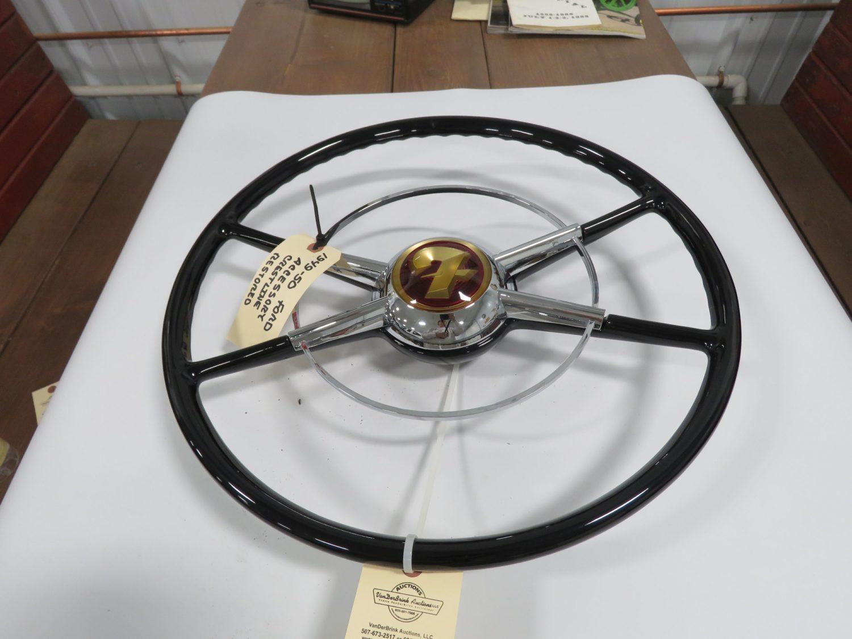 1949/50 Ford Crestline White/Black Steering Wheel W/Horn Ring Restored - Image 2