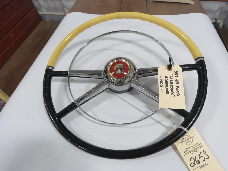 1953/54 Ford Crestline Black/White NOS Steering Wheel - Image 1