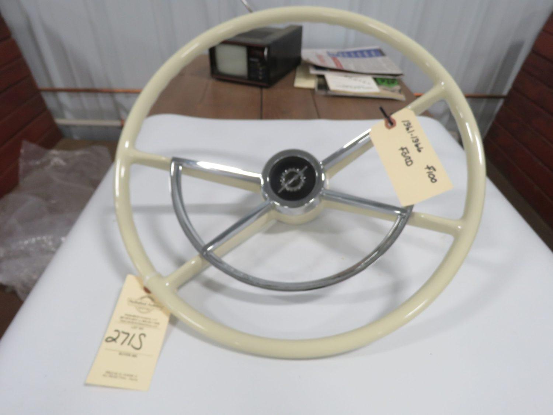 1960-66 Ford F150 Pickup Steering Wheel White Restored - Image 1