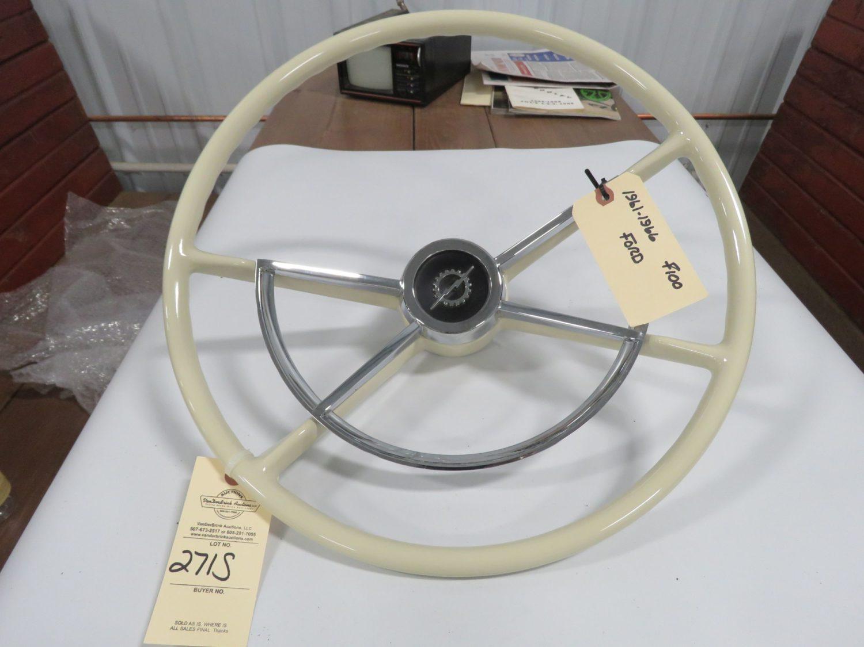 1960-66 Ford F150 Pickup Steering Wheel White Restored - Image 2